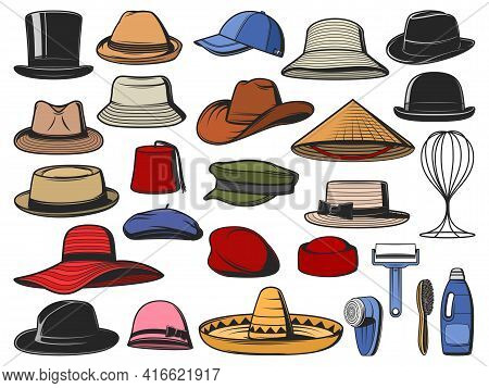 Hats And Caps Vector. Man And Woman Headwear Icons. Cowboy, Asian Straw And Cylinder Hats, Beret, Bo