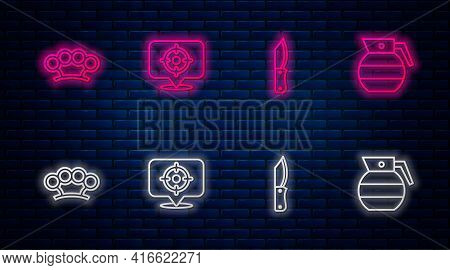 Set Line Target Sport, Military Knife, Brass Knuckles And Hand Grenade. Glowing Neon Icon On Brick W