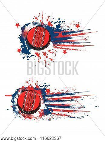 Cricket Ball Vector Banner, Sport Game Championship Splash Halftone Flag. Cricket Club And Team Leag