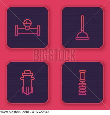 Set Line Industry Pipe And Manometer, Water Filter, Rubber Plunger And Toilet Brush. Blue Square But