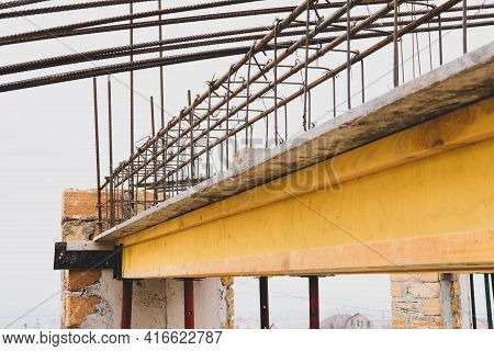 Monolithic Frame Construction Of The Building. Massive Brick Walls. Frame For Walls. Reinforcement M