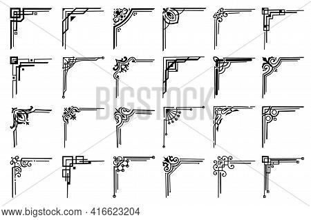Corners And Frame Borders, Vector Floral Embellishments Set. Black Corners With Flowers, Leaves, Vic