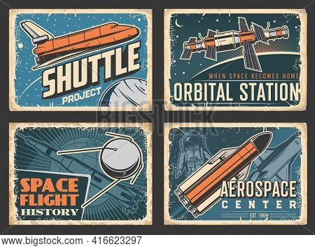Space Retro Posters, Orbital Station And Shuttle Rocket Launch Project For Galaxy Exploration. Vecto