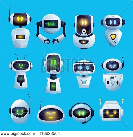 Cartoon Chat Bot And Robots Vector Icons, Artificial Intelligence Cyborg Characters. Cute Droids Or