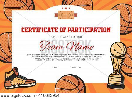 Basketball Team Certificate Of Participation Vector Template. Basketball Tournament Or Championship,