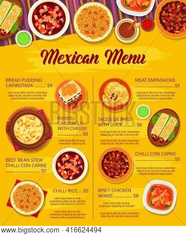 Mexican Cuisine Vector Menu Template. Potato Casserole With Cheese, Meat Empanada And Chicken Wings.