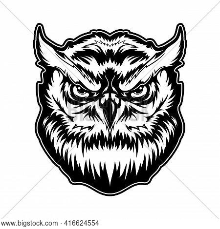 Owl Animal Head With Angry Face Vector Tattoo, Mascot Or T-shirt Print Design. Great Horned Owl, Bir