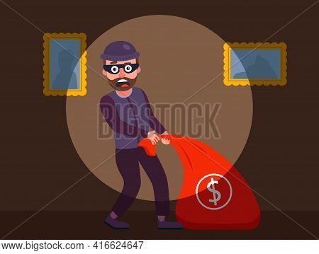 The Robber Was Caught Red-handed. The Guards Detained The Burglar Of The Apartment. Robbery Of A Pri