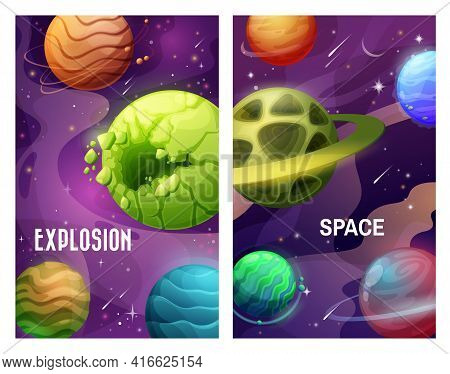 Space And Planets, Explosion In Galaxy And Asteroids Attack, Vector Fantasy Cartoon Background. Alie