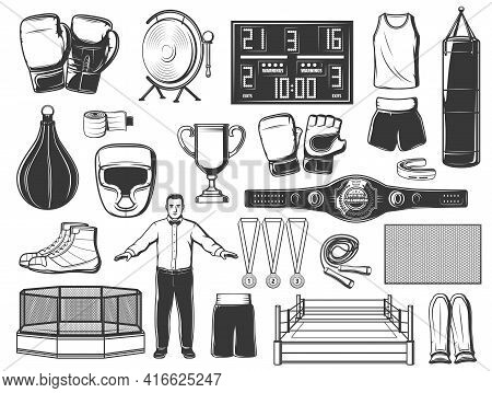 Boxing, Mma And Kickboxing Sport Vector Icons. Boxer Gloves, Punching Bags, Rings And Championship B