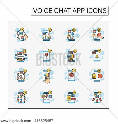Drop In Audio App Color Icons Set. Communication Application With Friends. Application Rules, Raped