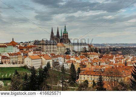 Scenic Panorama Of Prague Castle,saint Vitus Cathedral And Lesser Town.capital Of Czech Republic.ama