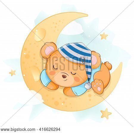 Cute Little Bear Sleeping On The Moon. Funny Bear Cartoon Character Having Magical Dreams. Usable Fo