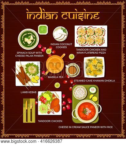 Indian Cuisine Restaurant Meals Vector Menu. Lamb Kebab, Indian Coconut Cookies And Tandoori Chicken