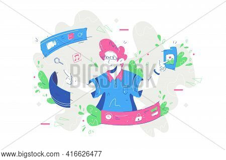 Man Pressing Virtual Knob Vector Illustration. Clever Male Employee Working On Screen Flat Style. Mo