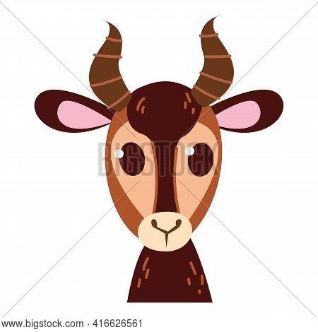 Baby Gazelle Emoticon Icon And Symbol Vector Illustration. Childish Style Isolated On White Backgrou
