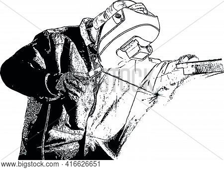 Black And White Vector Image Of A Welder In Overalls And A Protective Mask At Work