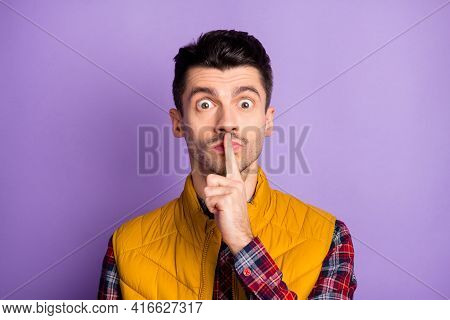 Photo Of Frightened Sad Young Guy Dressed Yellow Vest Big Eyes Finger Mouth Ask Not Tell News Isolat