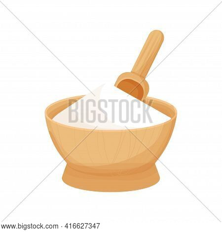 Wooden Bowl With White Ingredient, Starch Bowl In Cartoon Style Isolated On White Background. Baking