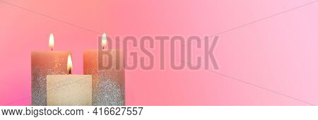 Candles Banner . Festive Glitter Candles . Candle Flame. Copy Space.online Candle Shop Banner. Festi