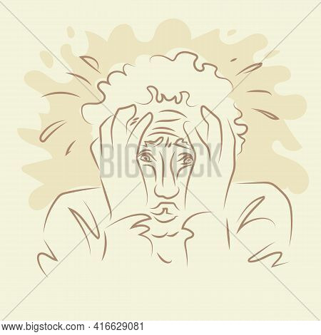 The Man Put His Head In His Hands. Line Drawings Of Man Feeling Sad, Tired And Worried About Sufferi