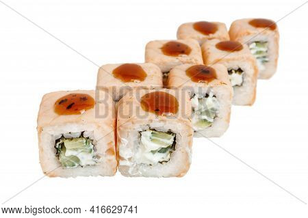 Sushi Rolls Isolated On White Background. High Quality Bright Food Photo