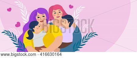 Lgbt Family. Lesbian Couple With Children. Female Gay, Two Mothers. Vector Illustration