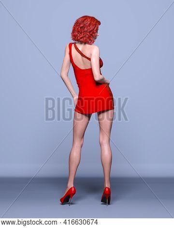 Beautiful Redhead Woman Red Short Dress Posing Photography
