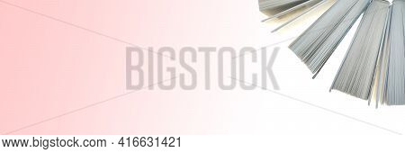 Book Banner.books Set Isolated On Pink Background. Library And Bookstore Banner.knowledge Day. Readi