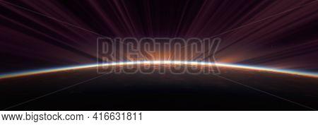 Sunrise From Space Aurora, 3d Rendering Illustration