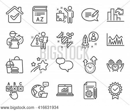 Education Icons Set. Included Icon As Documentation, Online Statistics, Chemistry Dna Signs. Safe Ti