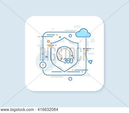 360 Degrees Line Icon. Abstract Vector Button. Panoramic View Sign. Vr Technology Simulation Symbol.