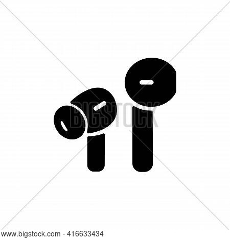 Air Or Wireless Headphones, Earphones Solid Black Line Icon. Trendy Flat Style Isolated Symbol, For:
