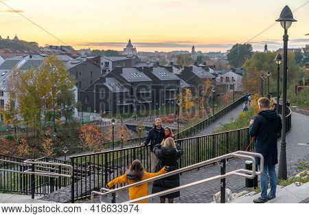 Vilnius, Lithuania - October 24, 2020: The Leisure Time Of The City Residents And Guests At Sunset I