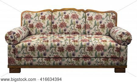 Fabric Armchair Sofa In A Slightly Primitive Style. Upholstery Material With Pattern.