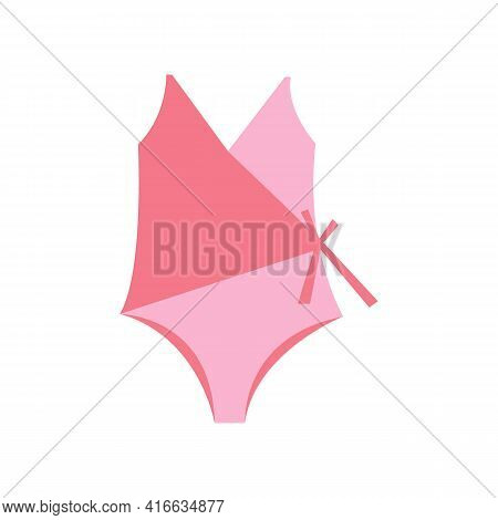 Pink Swimsuit, Summer Beach Clothes. Womens Swimsuit, Summer Vacation, Simple Vector Flat Illustrati