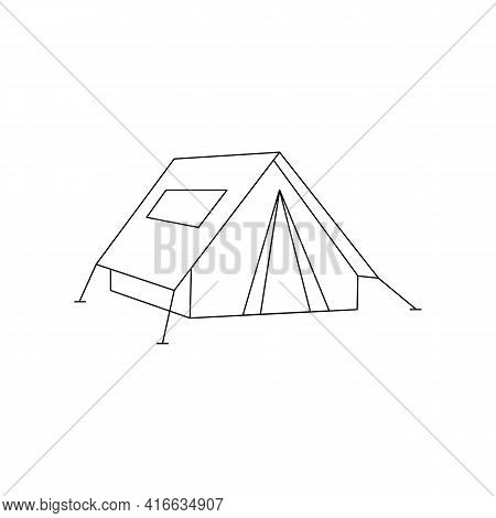 Linear Black White Tent Icon. Tent For Hiking And Traveling. Outline Tent For Wild Life In Nature, S