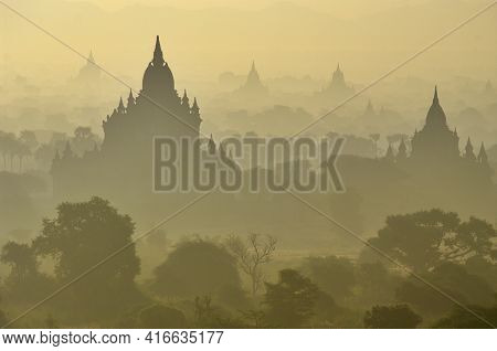 Temples Of Bagan In Early Morning. Myanmar (burma). There Are Over 4,000 Temples And Other Religious