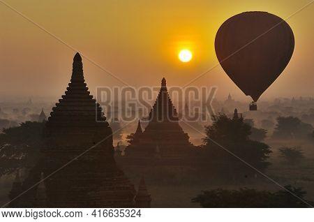 Temples Of Bagan With Hot Air Balloon. Myanmar (burma)