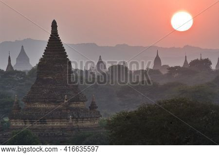 Temples Of Bagan At Sunset. Myanmar (burma). There Are Over 4,000 Temples And Other Religious Struct