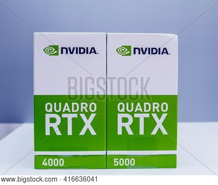 Paris, France - Mar 28, 2019: Side View Of The Packaging Of Two New Gpu Nvidia Quadro Rtx 4000 And R