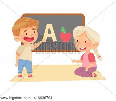 Little Girl And Boy In Kindergarden Learning English Alphabet Vector Illustration