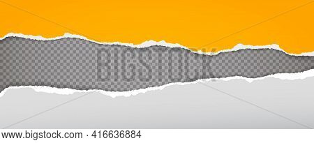 Torn, Ripped Yellow And White Paper Strips With Soft Shadow Are On Dark Grey Squared Background For
