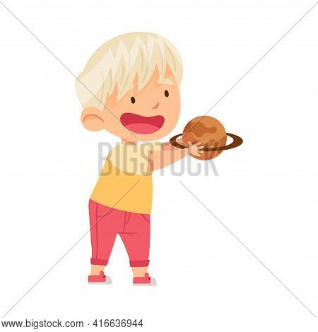 Little Blond Boy Holding Toy Planet Studying Space And Galaxy In Kindergarden Vector Illustration
