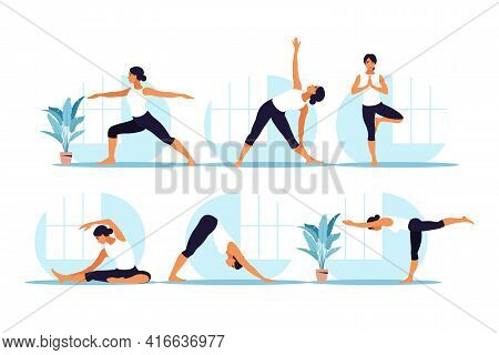 Young Woman Practices Yoga. Physical And Spiritual Practice. Set. Vector Illustration In Flat Cartoo