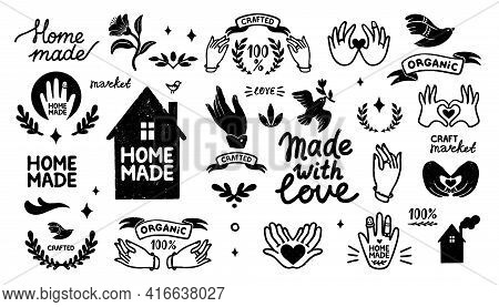 Homemade Vector Icons Set - Vintage Elements In Stamp Style And Home Made Lettering With Cute House