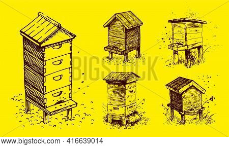 Bee Hive, Drawing. A Collection Of Farm Products. Black And White Vector Drawing. Retro Drawing, Vin