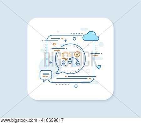 Lawyer Line Icon. Abstract Square Vector Button. Court Judge Sign. Justice Scale Symbol. Lawyer Line