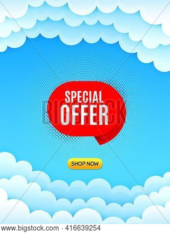 Special Offer Banner. Cloud Sky Background With Offer Message. Discount Sticker Shape. Sale Coupon B