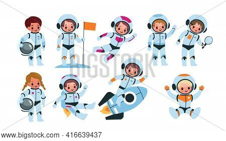 Kids Astronauts. Happy Little Children In Cosmic Suits, Space Explorers With Flags, Helmets, And Roc